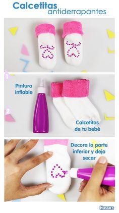 Cuando tu pequeño comienza a dar sus primeros pasos, necesita toda la seguridad que le puedas dar, ¡convierte todos sus calcetines en antiderrapantes con pintura inflable!