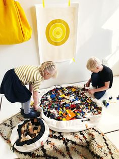 """LEGO cleanup made simple and the mess stays in the bag. """"Just Swoop it up! Toy Storage Bags, Lego Storage, Kids Storage, Storage Ideas, Lego Bag, Modern Toys, Everything Is Awesome, Mini Canvas, Kids Decor"""