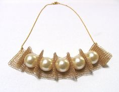 Big size pearls  Necklace  Wire crochet handmade by KvinTal, $65.00