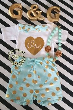 Mint and Gold Polka Dot Baby Girl 1st Birthday Shorts Outfits