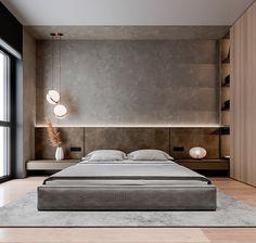 Cozy apartment on behance. Luxury Bedroom Design, Bedroom Bed Design, Modern Master Bedroom, Home Bedroom, Bedroom Decor, Contemporary Bedroom, Japan Bedroom, Modern Luxury Bedroom, Modern Minimalist Bedroom