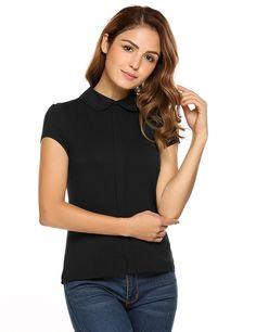94b631e14ad685 Zeagoo Womens Peter Pan Collar Shirts Cap Sleeve Tops Dressy Summer Blouses  S-XXL at