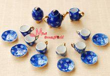 1/12 Scale Dinnerware Coffee Tea Cup Lot of 15 Blue Plum Dollhouse Miniature Furniture(China (Mainland))