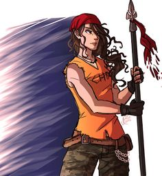 Clarisse La Rue, Daughter of Ares. Honestly, she's one of my favorite characters. At the beginning she's a bully, sure, but I've always felt like there was more to her. And when Chris came I was glad to see her soft side.