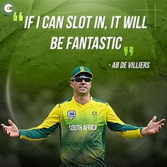 ABdeVilliers is open to making a comeback for South Africa in the T20 World Cup 2021 to be hosted by India. #cricket Cricket Quotes, Ab De Villiers, Just A Game, Famous Quotes, World Cup, Comebacks, South Africa, Abs, Baseball Cards