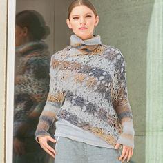 Асимметричный свитер из цветочных мотивов - схема вязания крючком. Вяжем Свитеры на Verena.ru