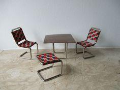 alte seltene 50er/60er Jahre Designer Stahlrohr Sitzgruppe für die Puppenstube