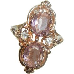 Vintage Lovely Amethyst rhinestone high raised Ring Size 7. We found this beautiful vintage ring at a estate sale in Southern California many years
