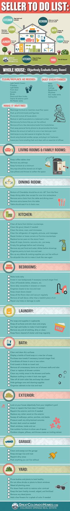 Home seller to do list. Very helpful resource to prepare to sell your home or real estate.