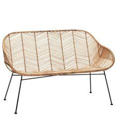 Rattan Sitzbank natur von HÜBSCH Interior Furniture, Wicker Chair, Rattan, Chair Design, Outdoor Furniture Accessories, Porch Furniture, Outdoor Chairs, Contemporary Room, Single Chair