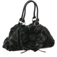 "Purse Boutique: Black Large ""Flower in Bloom"" Satchel Purse, Purses ($38) ❤ liked on Polyvore"