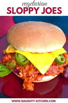 Who said Joe isn't sloppy? You're  about to meet this Vegetarian Sloppy Joe burger loaded with kidney beans and jalapenos for a slight kick on your palate! #naughtykitchen #vegetariansloppyjoe #vegetarianburger #vegetarianfoodeasy #sloppyjoeeasy #meatlesschili #recipeswithkidneybeans #sloppyjoesvegetarian #sloppyjoeburger #easyburgerrecipes @naughtykitchen Spicy Vegetarian Recipes, Vegetarian Appetizers, Healthy Dinner Recipes, Cooking Recipes, Sloppy Joe Burger, Vegetarian Sloppy Joes, Oven Roasted Red Potatoes, Beyond Meat Burger, Recipes With Kidney Beans