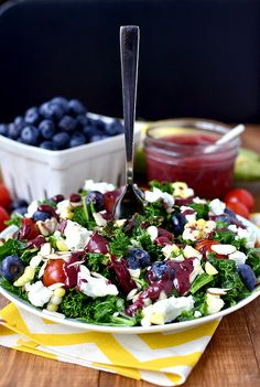 Best of Summer Kale Salad with Blueberry-Balsamic Vinaigrette - Iowa Girl Eats