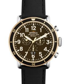 47mm+Runwell+Sport+Chronograph+Watch+with+Black+Strap+by+Shinola+at+Neiman+Marcus.