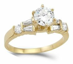 CZ Engagement Ring 14k Yellow Gold Solitaire Bridal Cubic Zirconia 1ct Jewel Roses. $208.00