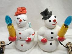 Mr & Mrs Snowman Lighted Candle Christmas Decoration Chalk Ware Frosty Figure