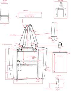 Technical layout plan for a carry-all bag Drawing Bag, Bag Illustration, Leather Bag Pattern, Leather Workshop, Diy Handbag, Purse Patterns, Tote Pattern, Denim Bag, Technical Drawing