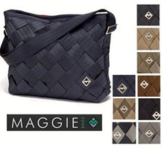 """Maggie Recycled Seatbelt Large Messenger Bag - $60 (Sale)    I love that these bags are made out of recycled seatbelts, & especially that there are pockets to store small items I need on hand, as well as """"feet"""" on the bottom to support the interior contents from slumping & potentially getting damaged!    http://www.theultimategreenstore.com/p-1128-recycled-seatbelt-large-messenger-bag.aspx"""