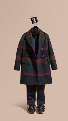 Dark teal Check Wool Topcoat - Image 1