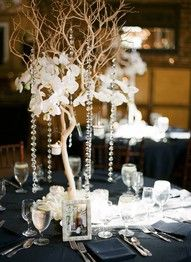 Sticks and Jewels Centerpiece - Great for a Winter / Barn wedding