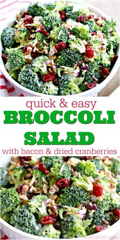 Looking for the perfect summer side dish? This Broccoli Salad with Bacon and Dri… Looking for the perfect summer side dish? This Broccoli Salad with Bacon and Dried Cranberries has been a family favorite for years, and it's super easy to make! Easy Broccoli Salad, Broccoli Cauliflower Salad, Brocolli Salad With Bacon, Bacon Salad, Brocolli Cranberry Salad, Brocolli Recipes, Best Broccoli Salad Recipe, Spinach Salads, Broccoli Florets