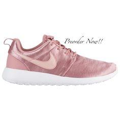 961400d0e093 Swarovski Women s Nike Roshe Run One Pink Satin Velvet Sneakers Blinged Out  With Authentic Clear Swarovski
