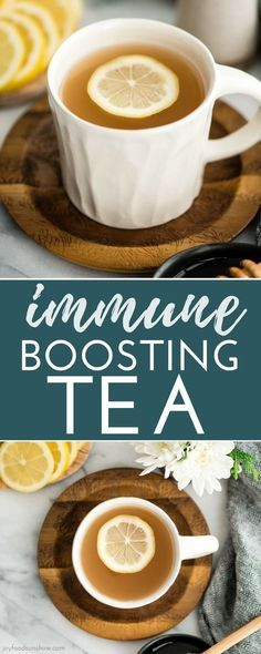 """Immune Boosting Tea Recipe is a home remedy that will boost your immune system, fight colds, ease a sore throat and calm your cough! I call it the """"magical elixir"""" because how effective it is at relieving pesky cold and flu symptoms! Healthy Food Choices, Healthy Eating Tips, Healthy Foods To Eat, Healthy Smoothies, Healthy Drinks, Smoothie Recipes, How To Stay Healthy, Good Health Tips, Health And Fitness Tips"""