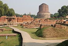 Dhamek Stupa in Sarnath, Uttar Pradesh, India, built by King Ashoka, where Buddha gave his first sermon