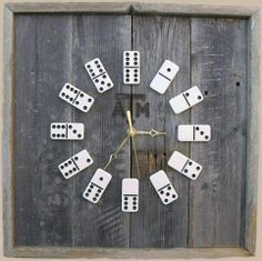 Make a clock using domino tiles - very clever