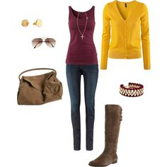 Fall boots, mustard cardigan