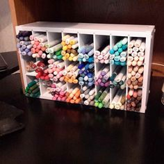 "The Compact Marker organizer fits just about anywhere and is the perfect way to keep your markers handy! This unit is less than 5"" wide yet holds 144 copic style markers or up to 192 Stampin Up style"