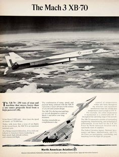 1965 Ad United States North American Aviation XB-70 Aircraft Plane Flying YTF8