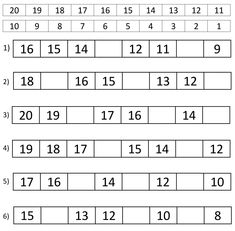 Counting Backwards From 20 Worksheets