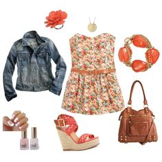 Coral/Gold Flower Print, created by jessica-gleaton.polyvore.com