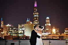 National-Italian-American-Sports-Hall-of-Fame-wedding,--Chicago-night-time-skyline-photo