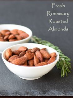 Fresh Rosemary Roasted Almonds - an easy, healthy recipe for parties or everyday snacking (naturally dairy-free, gluten-free, vegan and paleo)