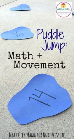 Puddle Jump Numbers Game - great active math game and fun activity for mental math - centers. Group Games For Kids, Math Games For Kids, Kindergarten Games, Preschool Games, Abc Games, Mental Maths Games, Kids Math, Math Activities For Preschoolers, Math Math