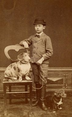 Vintage photo, two dogs and a boy in hat and boots