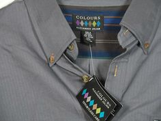 "New Colours By Alexander Julian Button Up Shirt Mens Size XXL NWT ""Smoke"""