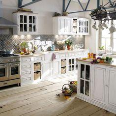 Mueble bajo de cocina blanco de madera de mango acristalado An. 80 cm | Maisons du Monde