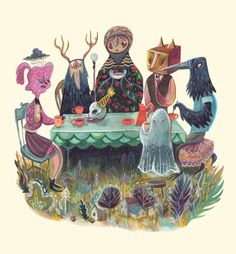 The Art of ruining conversation at dinner parties Art Print by Karl James Mountford