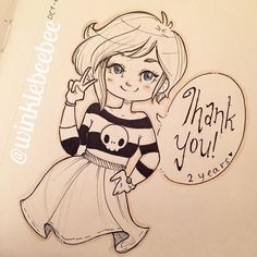 regram @winklebeebee October 5th #Inktober drawing [Dos Años]. Today is a very special day because it officially marks two years of me doing Daily Drawings! You guys are the reason I stick with it with all your support and your amazingly kind comments (that I suck at replying to but definitely read!!). I will never be able to thank you all for how much you inspire me and how much of a positive impact you've been on my life. Two years and 10000 followers later I have no plans on stopping! :D…