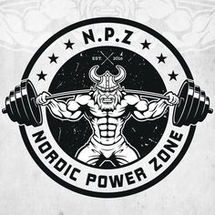 NPZ, Nordic Power Zone - Professional and modern weightlifting viking for gym logo with a nod to old school fitness studios. Gym in Norway specialising in powerlifting, athleticism, Olympic lifting. Crossfit Logo, Gym Logo, Logo Fitness, Fitness Studio, Web Design, Premium Logo, Geometric Logo, Badge Design, Stationery Design