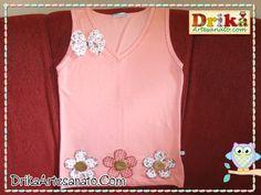 Passo a passo de Como fazer blusinha decorada com patch aplique 2ª parte - Drika Artesanato - O seu Blog de Artesanato.