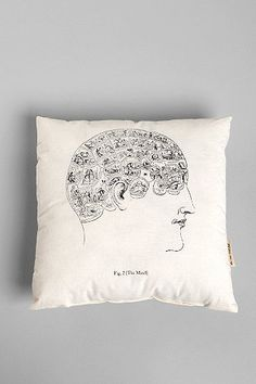 The Rise and Fall Phrenology Pillow | Apartment Design Co.
