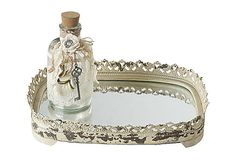 great idea for centerpiece, just add flowers and candles...Metal Tray w/ Mirror Bottom, Cream