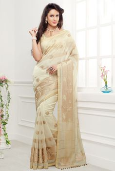 Off white pure cotton silk zari weaved saree with off white & copper pallu -SR10413 #Off #white #pure #cotton #silk #zari #saree #copper #pallu #classy #newarrival #fancy #traditional #collection #gorgeous #indian #fashion #designer #new #musthave #wardrobe