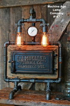 Steampunk Lamp, Barn Wood and Pressure Gauge - #167