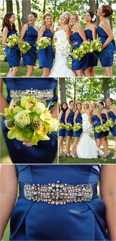blue bridesmaid dresses with green flowers