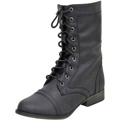 Black Military Combat Boots With Zipper Closure ($40) ❤ liked on Polyvore featuring shoes, boots, black, boots women, footwear, side zip boots, tall lace up boots, black military boots, combat boots and army boots
